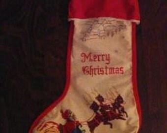 """Vtg  Merry Christmas Velveteen Stocking Santa Sleigh Reindeer Printed 19.5"""""""