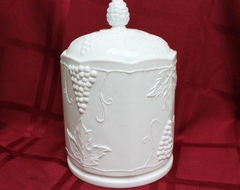 Beautiful 1950's Milk Glass Canister
