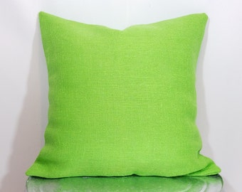 Custom made lime green burlap pillow cover/sham. Multiple sizes to choose from.