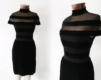 Vtg TADASHI little black dress - VELVET - mesh sheer striped bodycon - sz xs