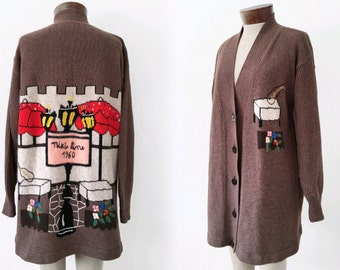 Vtg NIKI LINE sweater coat CARDIGAN - graphic knit - sz xs s m