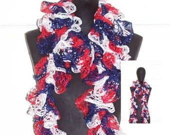 Red White Blue Crochet Frilly Scarf Patriotic Ruffle Scarf July 4th Fashion Scarf Hand Crochet Scarf Sashay Scarf Independence Day Scarf