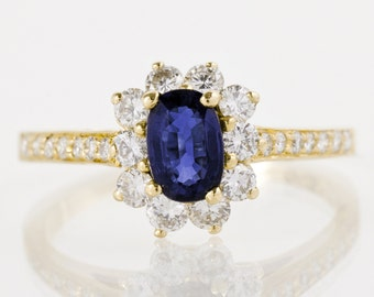 SALE 20% OFF! - Engagement Ring -  18k Yellow Gold Sapphire and Diamond Engagement  Ring