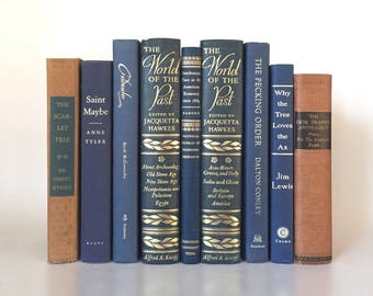 Vintage Book Set in Navy, Blue and Old Schoolbook Red for Bookshelf Decor,  Reading