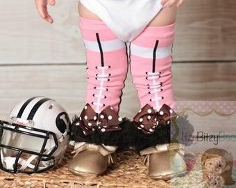Football Leg Warmers Pink Brown Black Girls Accessory