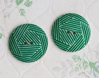 2 Green Buttons - Geometric Stripes - 80s Fshion - Aleterd Coture