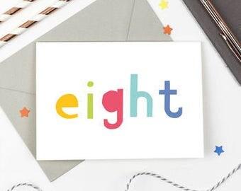 8th Birthday Card - Number Card - Eighth Birthday Card