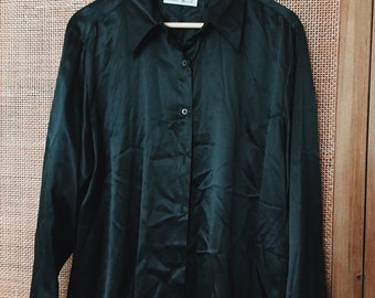 Vintage 'Focus 2000' 100% Silk Black Button Down Blouse Shirt Size XL