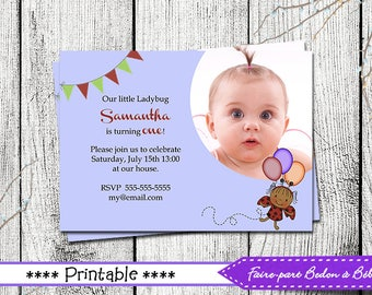 Personalized  Ladybug Birthday party invitation - Digital printable file