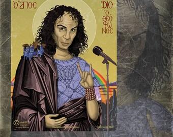 Dio icon sticker, heavy metal sticker