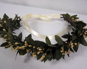 Wedding Hair Halo, Hair Wreath with Preserved Greenery, Rustic Hair Circlet,