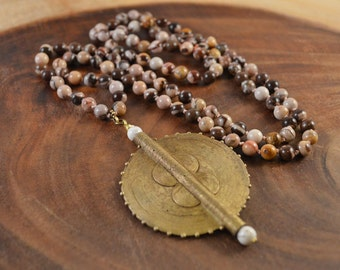 Brass Pendant Necklace, Zebra Jasper, African Brass, Bohemian Jewelry, Hand Knotted, Bohemian Necklace, Boho Necklace, Long Beaded Necklace