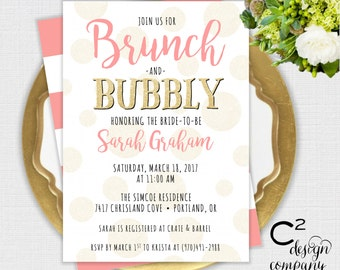 Brunch & Bubbly Coral Bridal Shower Invitation