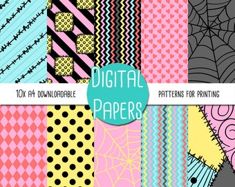 Sally The Nightmare Before Christmas A4 Digital Paper - Instant Download for Printing and Scrapbooking