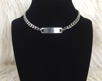 Chunky Chain ID Tag Choker Necklace