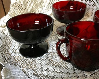1920's French Ruby Glass Tableware