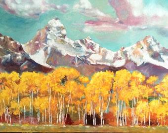 Oil Painting of ColoradoAspen Mountain Landscape