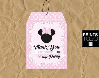 Minnie Mouse Thank You Tags, Polka Dots Minnie Mouse Favor Tags, Minnie Mouse Party, Party Favors, Pink , Girl Invitation, Polka Dots Minnie