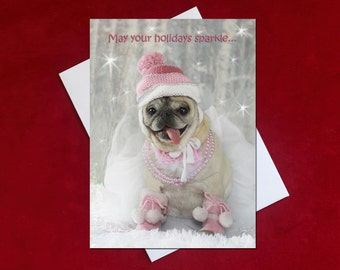 Funny Christmas Card - Pug Holiday Card -5x7 - Sparkle