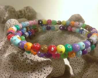 Colorful Beads with Rhinestones Memory Wire Bracelet