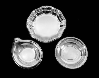"""Set of 3 Vintage Silver Bowls / Candy Dish Lot 5"""" to 7"""" Size"""