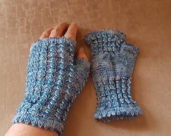 Turquoise Beaded Fingerless Mitts