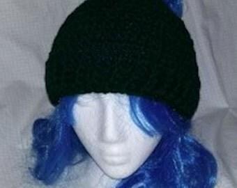 Hunter Green Messy Bun Hat, Crochet Bun Hat, Ponytail Hat, Women's Hat, Womens Fashion, Messy Hair Beanie, Messy Hair Hat, Crochet Beanie
