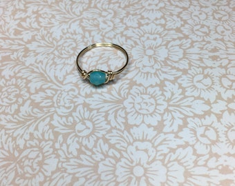 Sea foam green opaque crystal ring