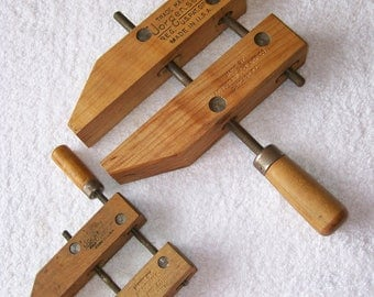 Two Vintage Jorgensen Wood Clamps Woodworking #4/0 and #0