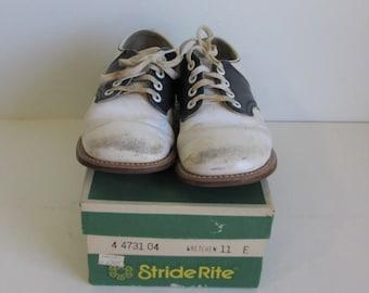 Child's 70's Stride-Rite Saddle oxfords in original box size 11 E Gretchen Style