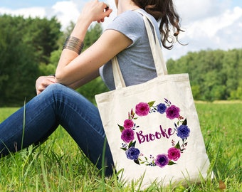 Canvas Tote Bag - Floral Royal Purple Wreath Personalized Bag