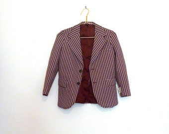 Vintage Patterned Tailored Jacket 70s XXS Womens/Child