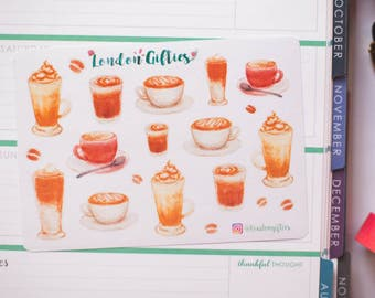 Speciality coffee lover - decorative watercolour planner stickers suitable for any planner -336-