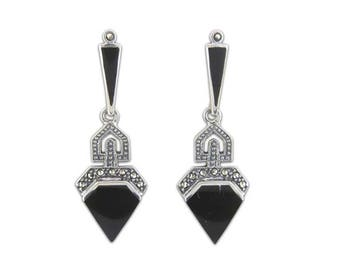 Sterling Silver Art Deco Marcasite Earrings, Black Onyx Earrings, Vintage Style Earrings, UK Seller, Marcasite Jewellery, Marcasite Jewelry