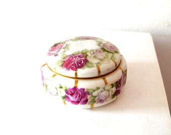 Vintage Hand Painted Floral Porcelain Trinket Dish / Fuchsia Floral and Gold Porcelain Covered Bowl / Porcelain Painted Roses Jewelry Dish