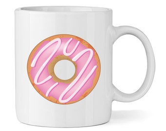 Pink Strawberry Glazed Doughnut 11oz Mug Cup