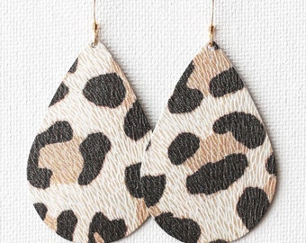 White Leopard Leather Tear Drop Earrings