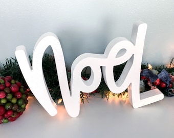 Noel-Unfinished Freestanding Wood Word Cutout-Custom Handlettered