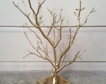 """15""""-17"""" Gold Jewelry Tree Branch with Wooden Box Stand"""