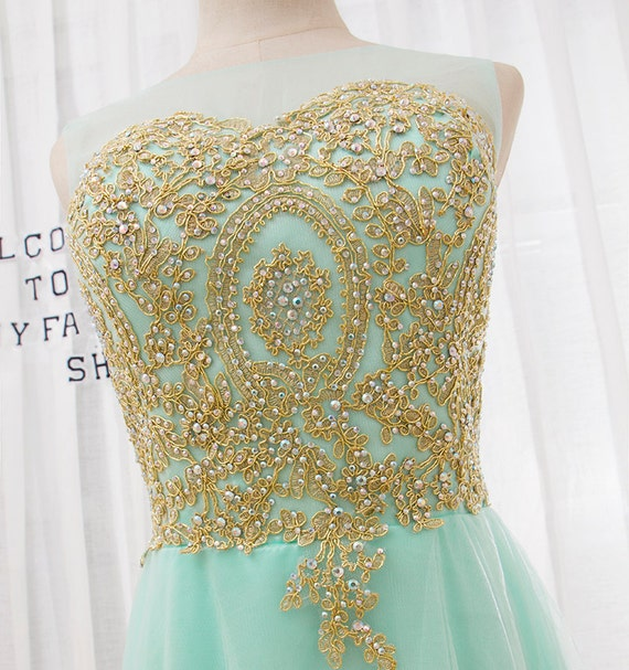 2016 New fashion round neck prom dress,Mint Green short evening dress,Gold Lace crystal party dress bridesmaid dress