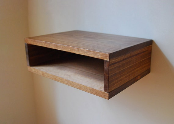 Floating nightstand wall shelf made from reclaimed wood for Wall shelf nightstand