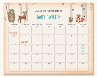 shower birthday prediction printable baby shower due date calendar