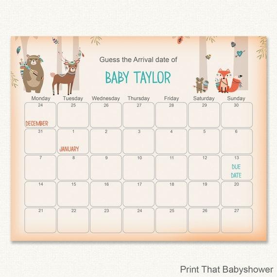 Calendar Woodlands : Woodland baby shower guess the due date
