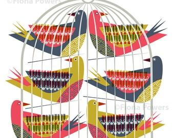 Decorative birdcage  giclée print