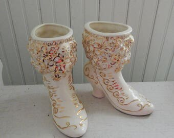 White Ceramic Victorian Women's Button Top Boot Planters - Matching Set of Ivory and Gold Gilt Planters - Two Victorian Shoe Boot Planters