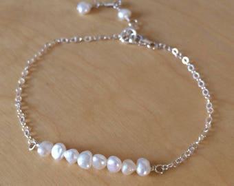 Tiny Freshwater pearl bridal bracelet Sterling Silver or 18K Gold Fill small pearl bracelet pearl bar bracelet seed pearl jewellery wedding