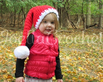 Crochet Chunky Santa Elf Hat, Striped Bulky Christmas Elf Hat, Christmas Pictures, Pom Pom Hat, Xmas Hat, JoellaCrochet