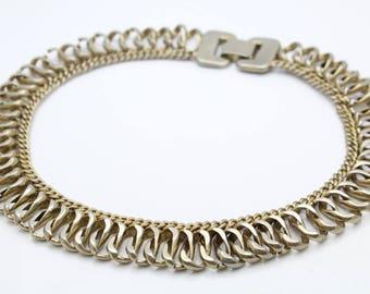 "Vintage Designer Enco Chunky Silver-Tone 15"" Fancy Link Necklace. [12241]"