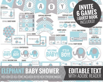 Blue Elephant Baby Shower Decorations - Printable Blue and Gray Baby Shower Package - Cute Baby Boy Shower Decor. Editable Digital Download