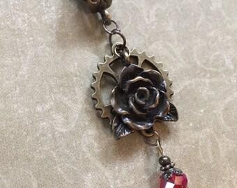 Red Rose Sparkle Steampunk Necklace Gear Flower Burgundy Antique Bronze